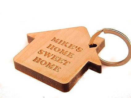 Llavero de madera sólida casa personalizado - 7 mm: Amazon ...