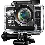 Topop - Foto e videocamera, 1080p 12MP WIFI, 170 Glass Lenti Mini 30m Impermeabile, 2.0 Pollici Full HD con 2 Batterie