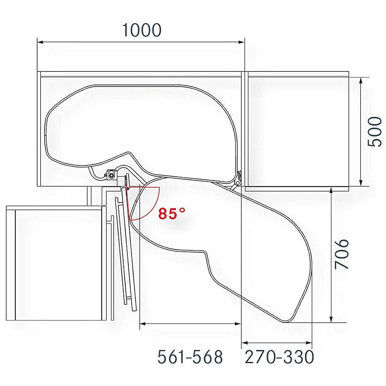 LeMans II anthrazit rechts ausschwenkend für Eckschrank mit 60 cm ...