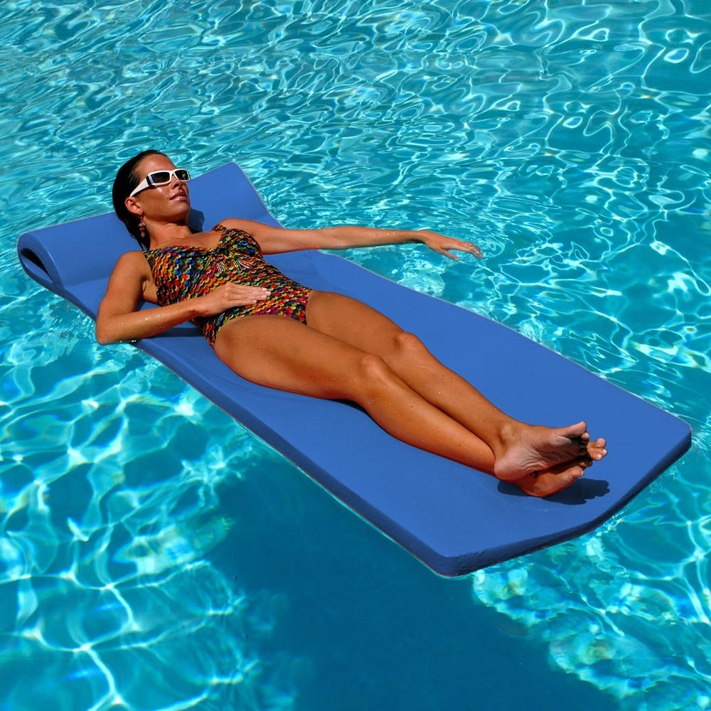Texas Recreation Sunsation 1.75'' Thick Swimming Pool Foam Pool Floating Mattress, Bahama Blue
