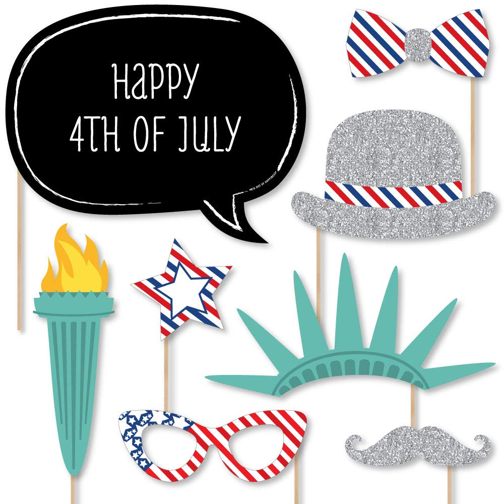 Custom 4th of July Photo Booth Props Kit - Personalized Fourth of July Summer Party Supplies - 20 Selfie Props