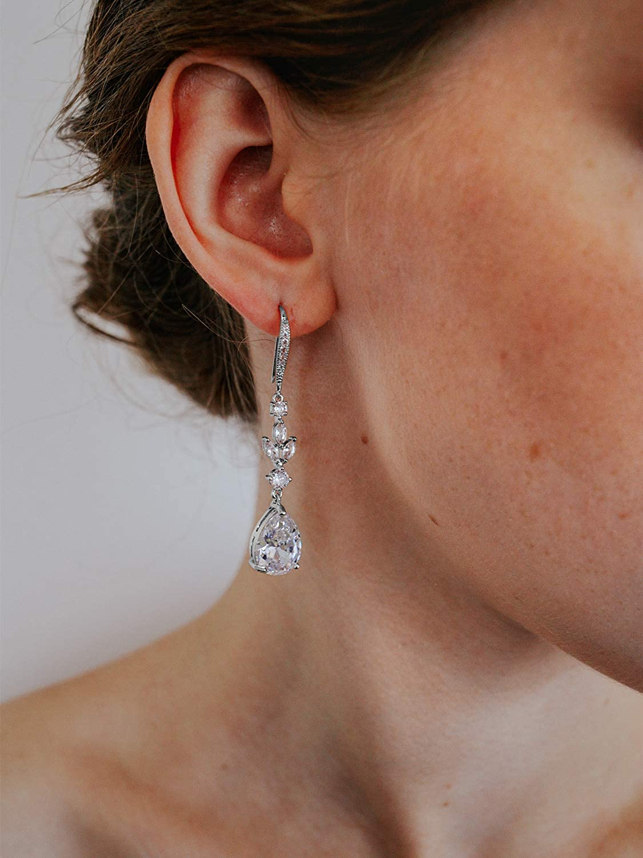 Bridal Earrings Square Cubic Zirconia Earrings,crystal CZ set,bridesmaid earrings,Cubic zirconia earrings,Bridesmaid card with earrings