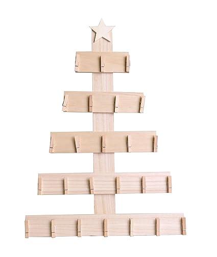 Alberi Di Natale In Legno Amazon.Artemio Calendario Dell Avvento Albero Di Natale Per Decorare Con Ganci Legno Legno 35 5 X 50 X 2 5 Cm