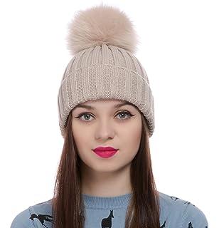 9cedadba Womens Girls Winter Knitted Fur Hat Real Large Detachable Raccoon Fox Fur  Pom Pom Beanie Winter