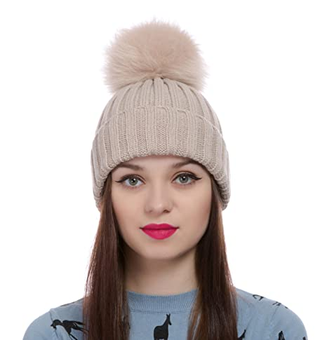 a79e33dcc23 Womens Girls Winter Knitted Fur Hat Real Large Detachable Raccoon Fox Fur  Pom Pom Beanie Winter