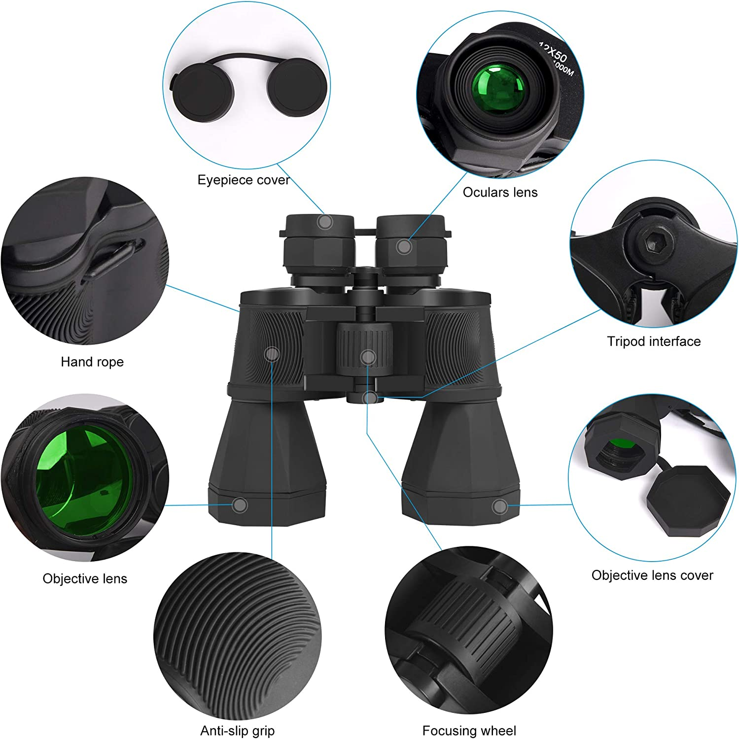 UPSKR 12×50 Compact Binoculars with Low Light Night Vision, Large Eyepiece High Power Waterproof Folding Binocular Easy Focus for Outdoor Hunting, Bird Watching, Traveling, Sightseeing Fit for Adults