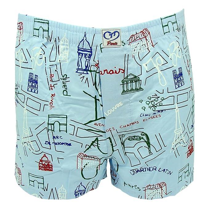 Souvenirs of Paris Pantalón corto - estampado - para hombre azul azul claro small