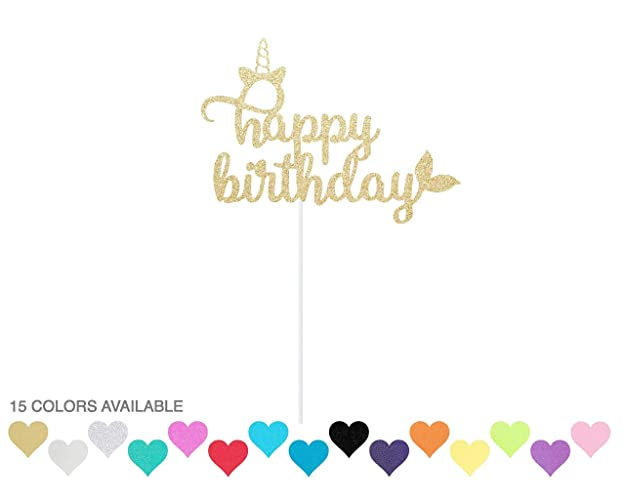 Image Unavailable Not Available For Color Happy Birthday Unicorn Mermaid Glitter Cake Topper