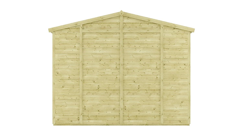 10 FT tratada a presión Grandmaster sin ventanas de madera cobertizo de jardín tradicional Apex Offset doble puerta: Amazon.es: Jardín