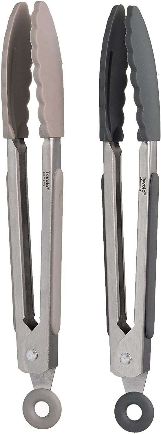 "Tovolo Kitchen Cooking Mini Stainless Steel Tongs 7"" with Silicone Grip & Easy Lock Mechanism for Serving, Salad, and Ice, Set of 2, Charcoal & Warm Gray"