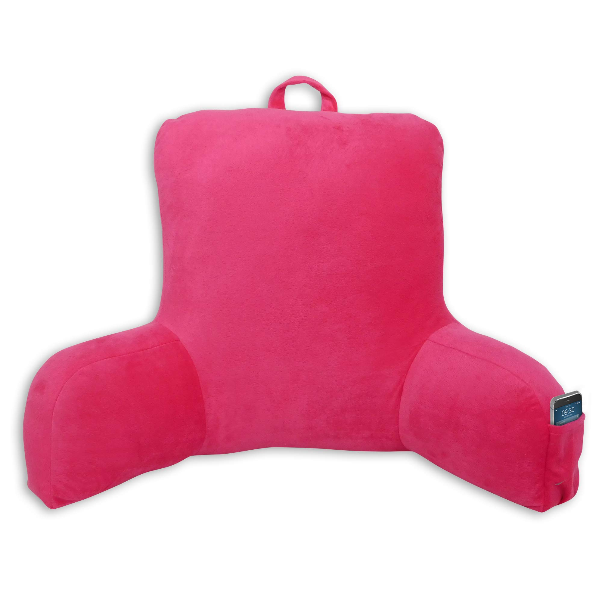 Mainstays Micro Plush Double Sided Arms Support Backrest Soft Pillow, Fuchsia by Mainstay