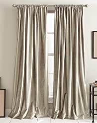 DKNY Modern Knotted Velvet Room Darkening Lined Curtain Panel Pair