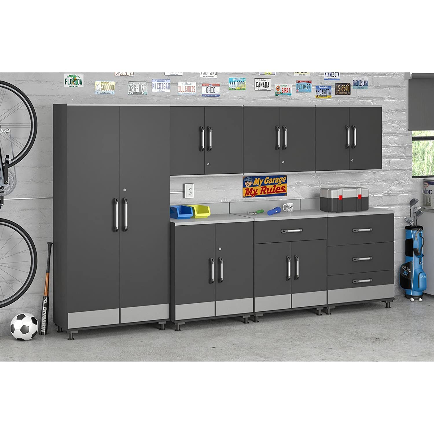 amazoncom altra furniture systembuild boss 2 door base garage cabinet kitchen u0026 dining - Garage Wall Cabinets