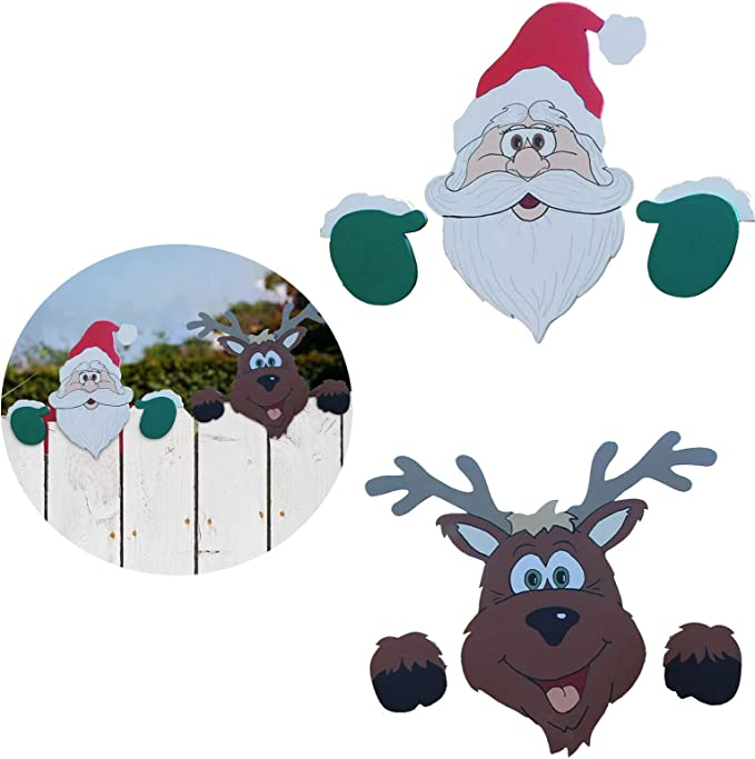 cookin Christmas Themed Fence and Garden Peeker,Charming Christmas Home Decor Peeks at Santa Claus and Elk Suitable for Home Outdoor Lawn Pathway Parking Fence Walkway Driveway Holiday Decorations