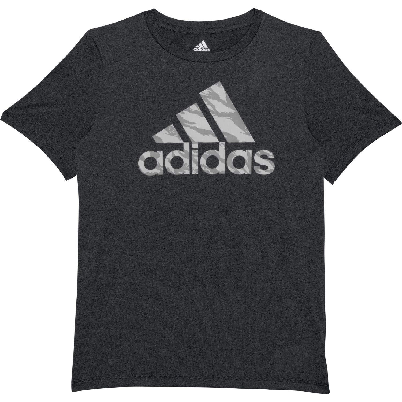 adidas Boys' Short Sleeve Logo Tee Shirt (S (8/10), Heathered Black/Grey Camo)