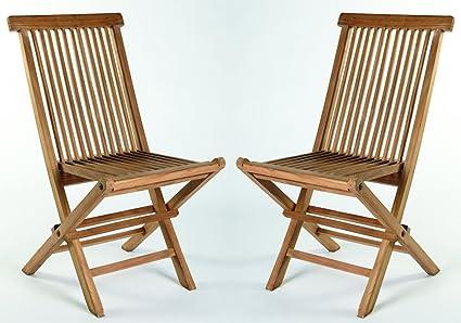 Juego de 2 sillas plegables teca Madera de Teca Jardín ...