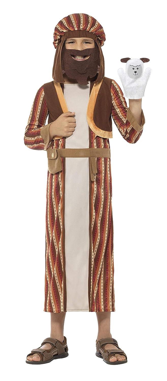 Smiffys Disfraz de Pastor del belén a Rayas, marrón, Traje ...