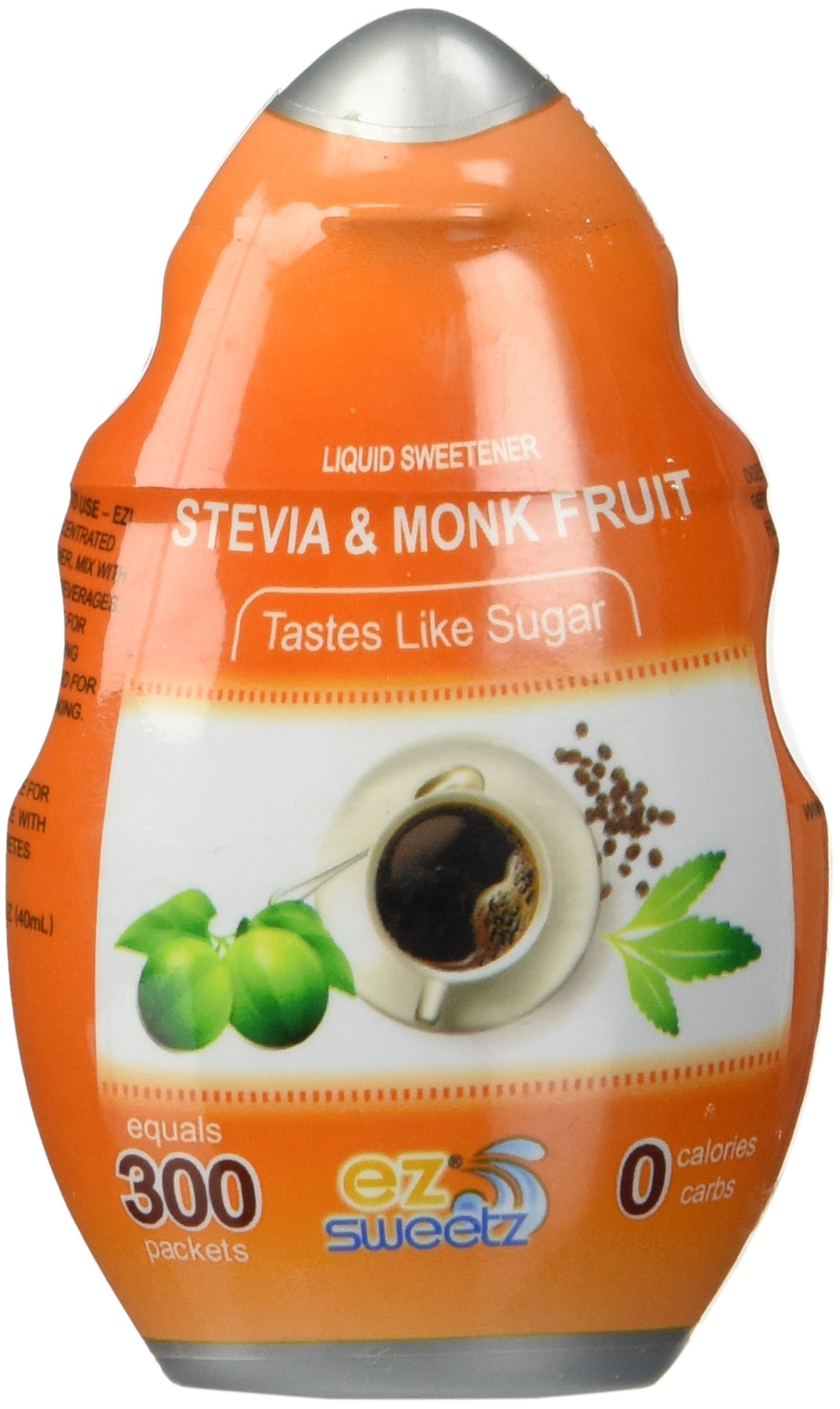 EZ-Sweetz Stevia & Monk Fruit (1.36oz - Liquid Sweetener 300 Servings/Bottle)