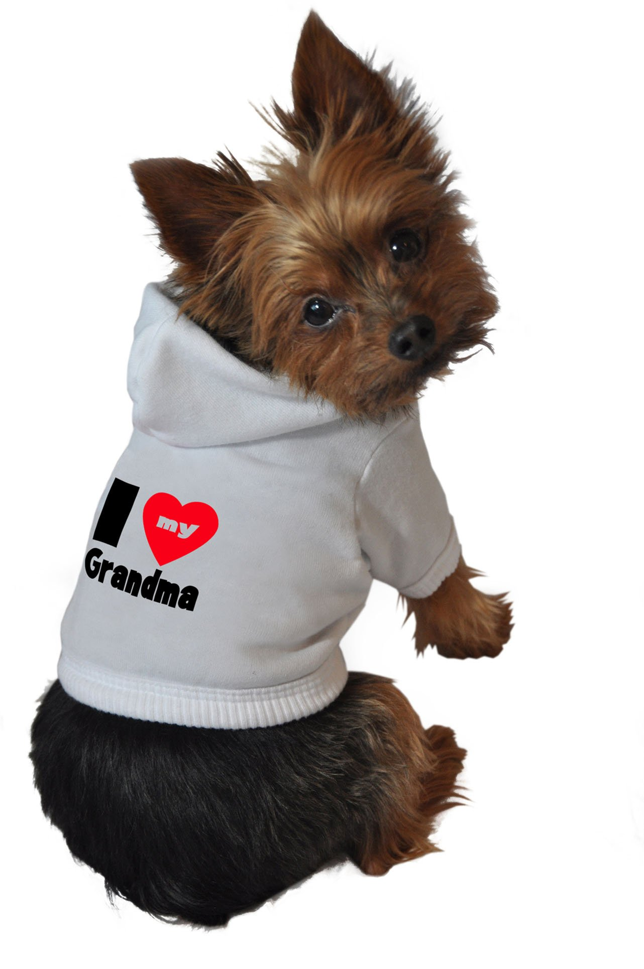 Ruff Ruff and Meow Dog Hoodie, I Love My Grandma, White, Small by Ruff Ruff and Meow