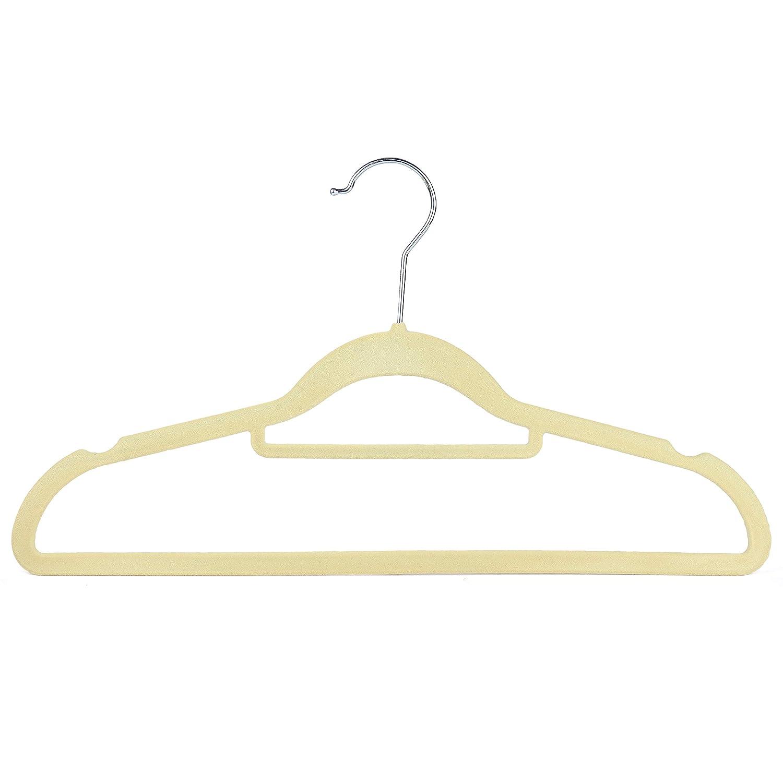 de terciopelo flocadas antideslizantes beige Perchas con barra para pantalones 42 cm