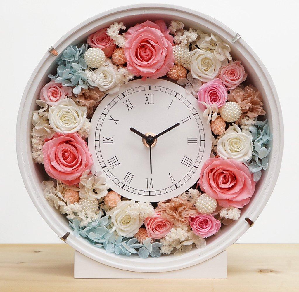 プリザーブドフラワーの花時計 サンクスフラワークロック(丸型 シフォンカラー )刻印なし B075XJWLWX