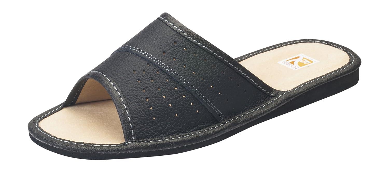 Damen Komfort Hausschuhe, Huttenschuhe, 100% Echtes Leder, Innenmaterial Leder Schwarz