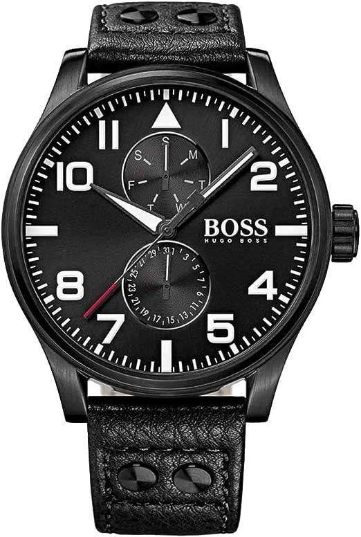 Hugo Boss Reloj analogico para Hombre de Cuarzo con Correa en Piel 1513083: Amazon.es: Relojes