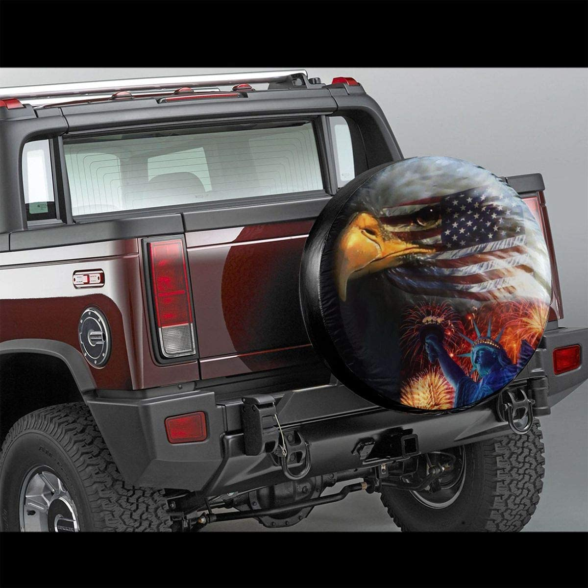 SUV and Many Vehicle 14 15 16 17 Rv MSGUIDE Spare Tire Covers Eagle American Flag Waterproof Dust-Proof Sun Protectors Universal Wheel Cover Fit for Jeep,Trailer