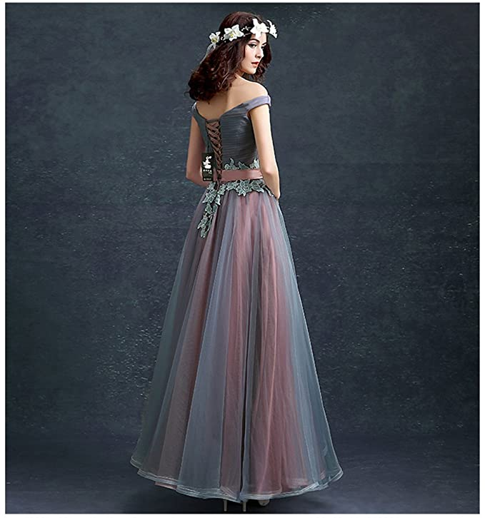 Drasawee Women off Shoulder Fineness Applique Bridesmaid Prom Dress Sweet Neckline Maxi Homecoming Evening Party Gowns UK20: Amazon.co.uk: Clothing
