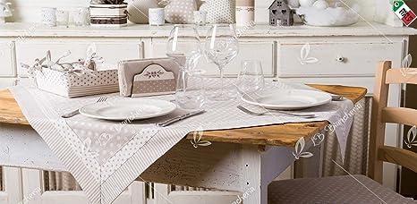 Tovaglia Cucina Soggiorno Chic Shabby Country Chic - Made in Italy 100%  cotone - Quadrata cm 140x140 - Beige
