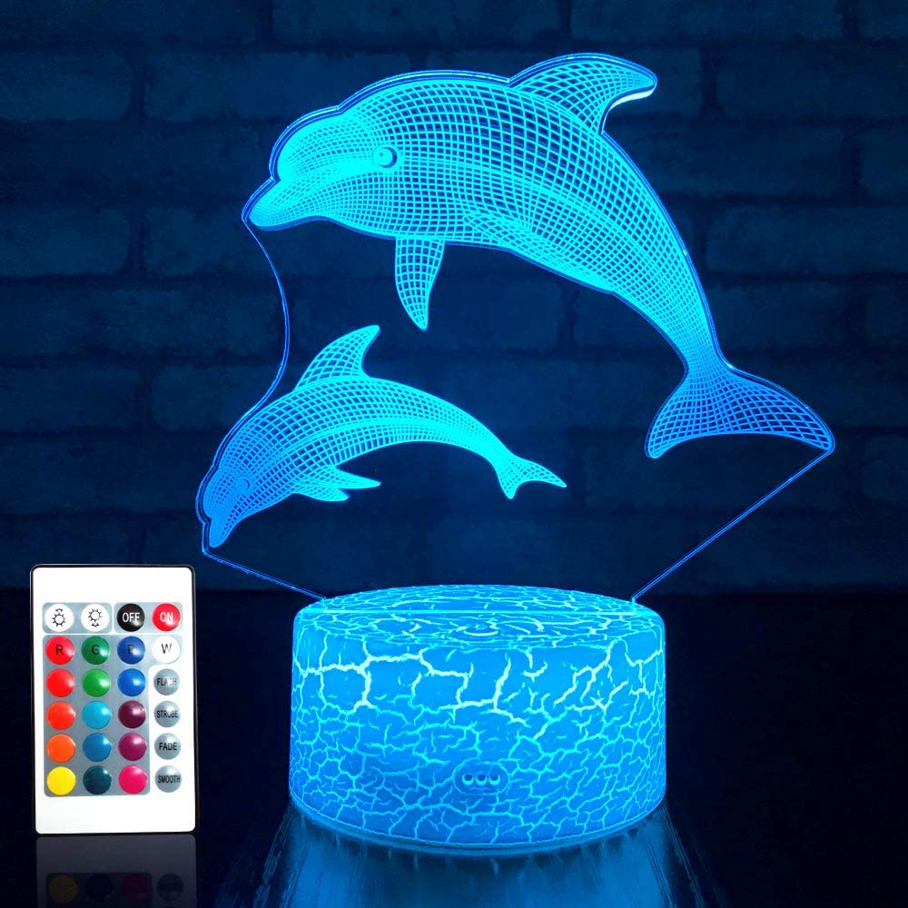 JMLLYCODolphin Girls GiftsDolphin Lamp 16 Colors Change with Remote Control 3D Optical Illusion Dolphin Decor Light As a Birthday Gift Ideas for Baby and Kids