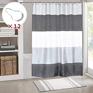 SHE'S HOME Black White Stripes Shower Curtains, Waterproof Fabric Cloth for Man Bathroom Bathtubs with Metal Rings,72  W×72  L