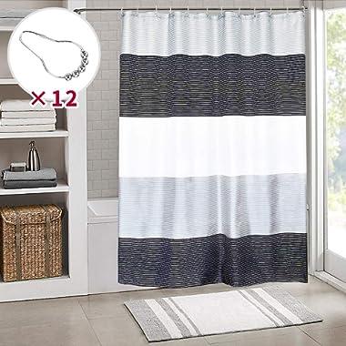 JUYOU Black White Stripes Shower Curtain, Mildew Resistant Waterproof Fabric for Man Bathroom Bathtubs with Metal Rings,72  W×72  L