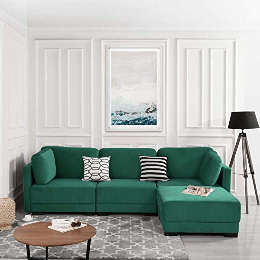 Green Modular Sectional Sofa Couch Convertible Sofa Sectional w/Reversible Chaise Ottoman, 3 Piece (Custom Couch Feature) Modern L-Shaped Sectional ...