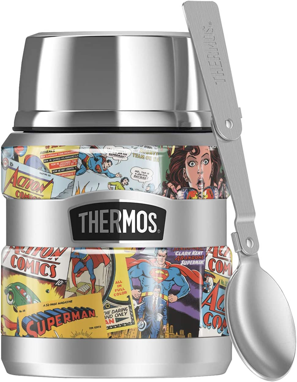 Superman Comic Covers, THERMOS STAINLESS KING Stainless Steel Food Jar with Folding Spoon, Vacuum insulated & Double Wall, 16oz