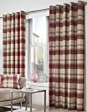 DREAMS AND DRAPES One pair of Belvedere Eyelet header Curtains in Red, Size: 66x72 (168 x 183 cm) width x drop