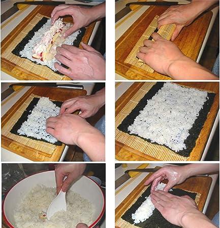 WCYBBGS bambú Sushi Rolling Pad rollo sushi Arrocera cocina japonesa herramientas de cocinado a la casa bambú fieltro Pad 2 Pack, 2: Amazon.es: Hogar