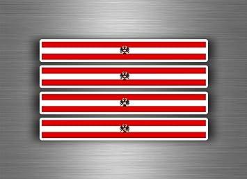 Akachafactory 4 X Selbstklebend Sticker Auto Moto Stripes Flagge Tuning Österreich Adler Auto