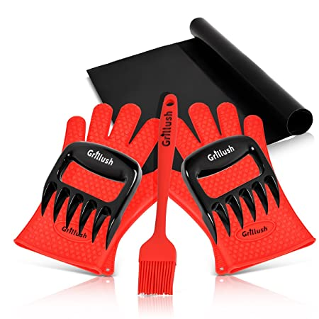 Superior Value Set Silicone BBQ Cooking Gloves Plus Grill Mat Plus Meat Claws Plus Silicone Baster Plus eBook w 300 Recipes. Impress Your Family and Friends with Your Professional BBQ Kit