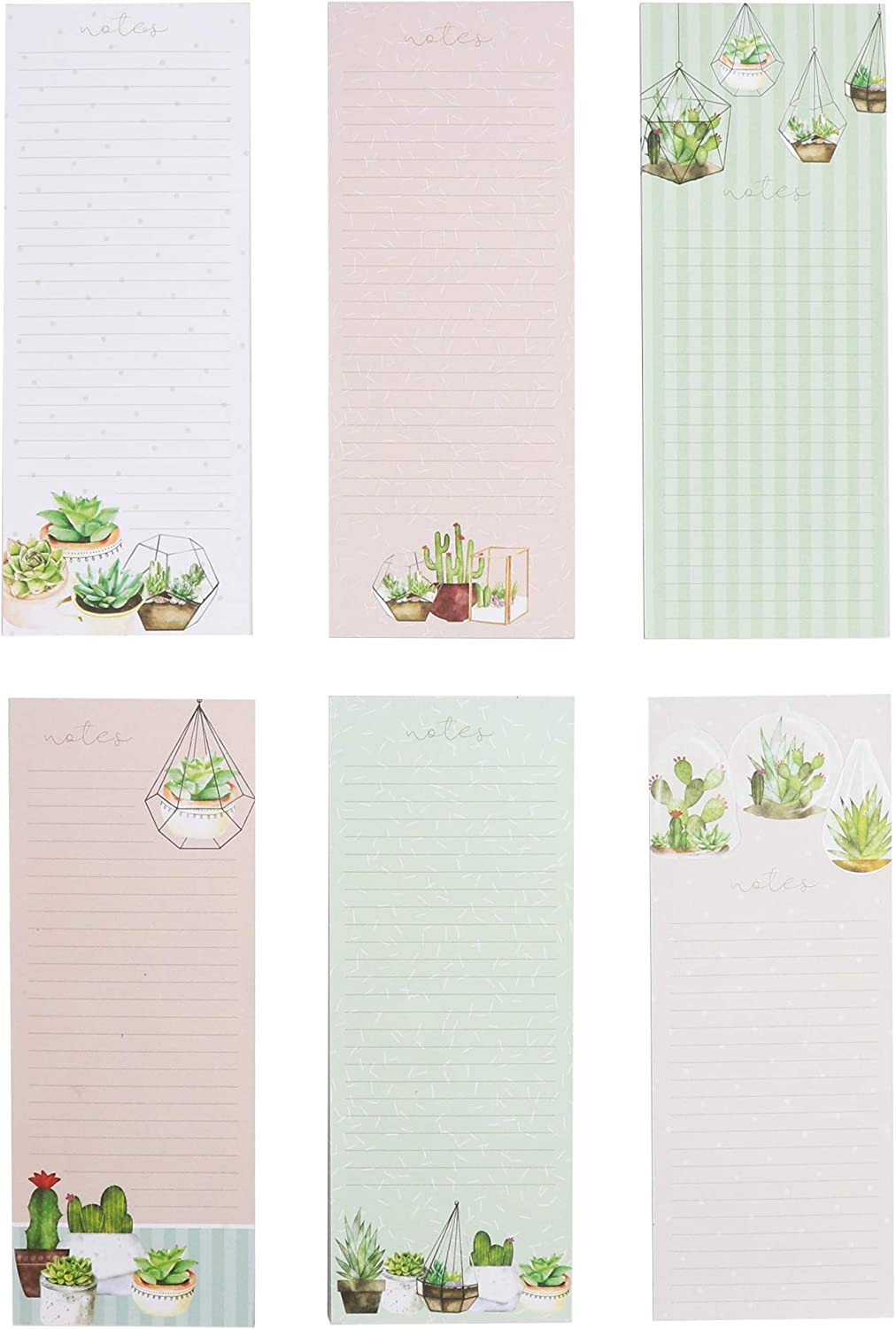 Paper Junkie Succulents Magnetic Notepads for Refrigerator (12 Pack) 3.5 x 9 Inches, 6 Designs