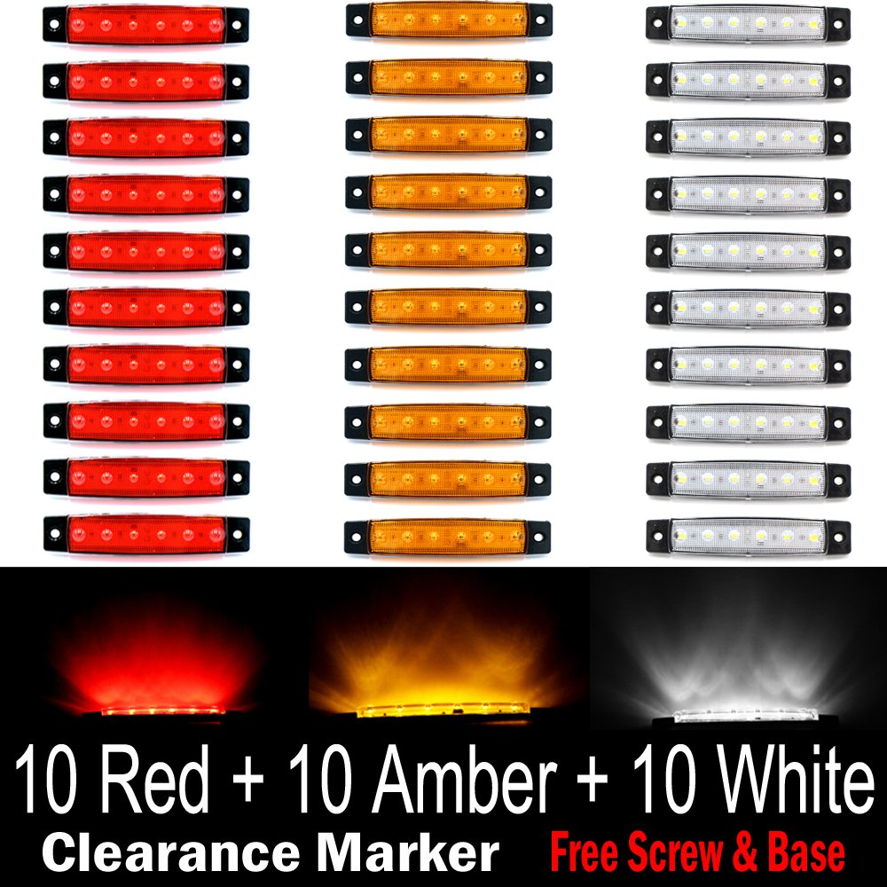 (Pack of 30) LEDVillage 10 pcs Amber + 10 pcs Red + 10 pcs White 3.8'' 6 LED Side Marker Lights, Trailer Marker Lights, Rear Side Marker Lamp, Led Marker Lights for Trucks, Cab Marker, RV Marker light by TMH