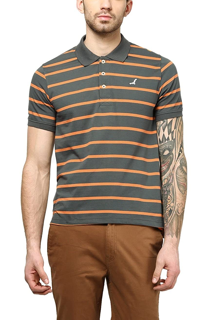 AMERICAN CREW Men's Polo Collar Stripes T-Shirt (Castle Rock & Orange)