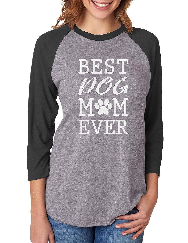 Best Dog Mom Ever! Gift for Dog Lover 3/4 Women Sleeve Baseball Jersey Shirt GZhPlZ0gJu