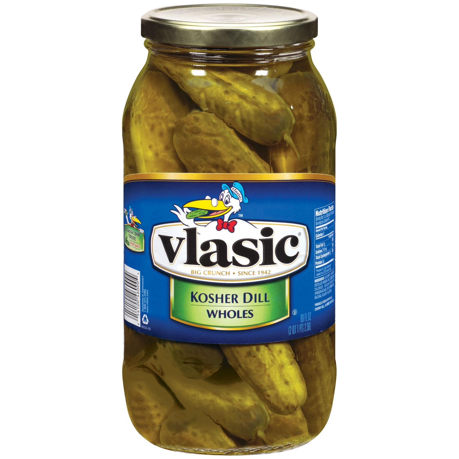 Vlasic Whole Pickles, Kosher Dill, 80 Ounce
