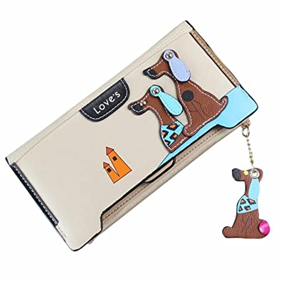 Bikifree Women Cute Puppy Dog Cartoon Binder zipper wallet Comes dog leather Coin Purse Long Wallet