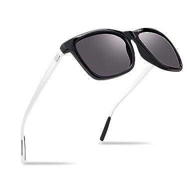 a1be6783e067 Men Polarized Sunglasses UV400 Protective Lenses Outdoor Clarity Sun Glasses  Metal Frame Ultra Light (Black