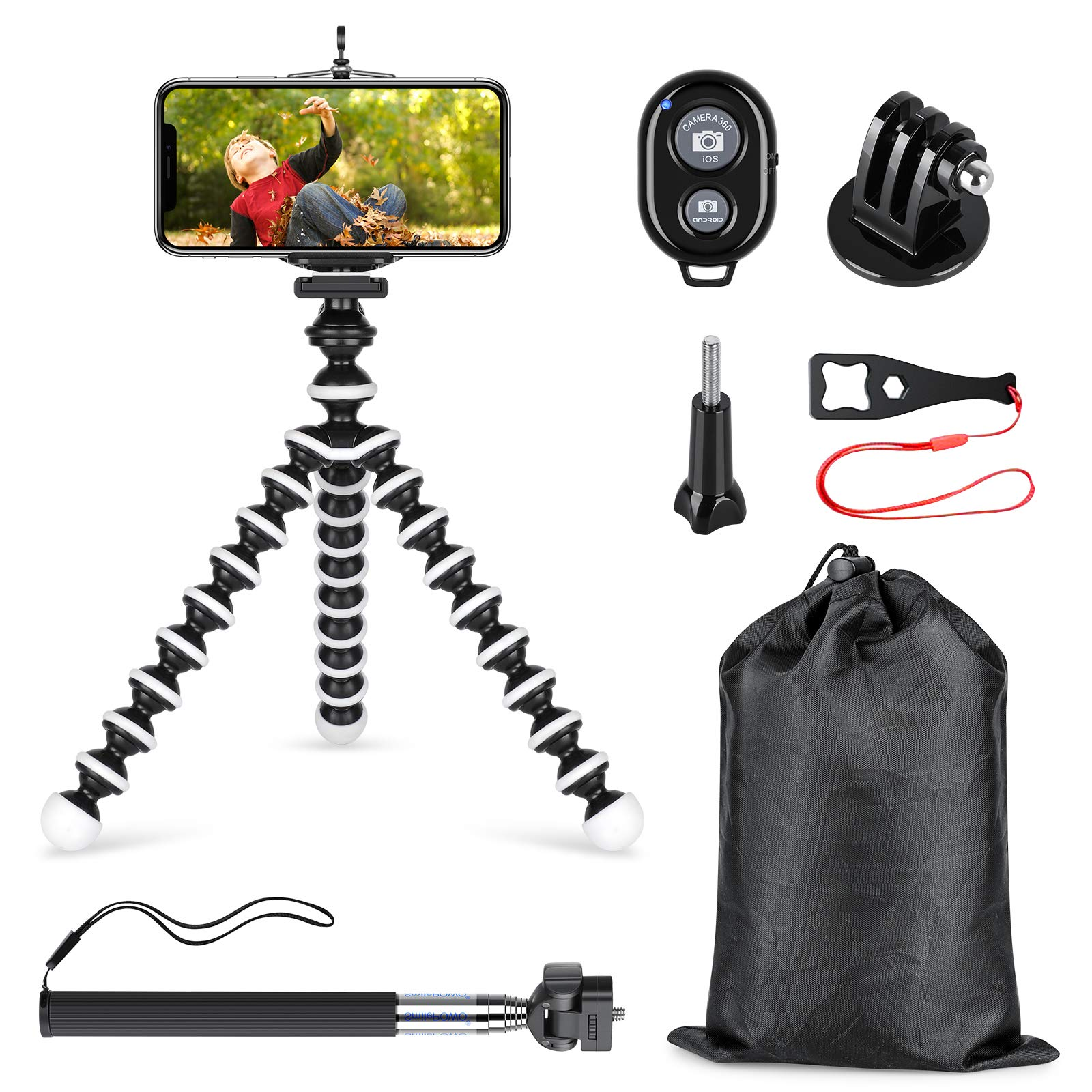 SmilePowo Phone Tripod and Selfie Stick Kit with Shutter Remote Control and Universal Adapter for iPhone, Android Phone,GoPro Hero Camera and Other Sports Action Camera(with Medium Tripod) by SmilePowo