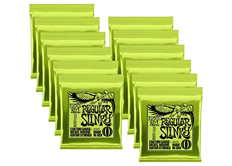 Lot de 12 – Ernie Ball po2221. 12 Regular Slinky cuerdas para guitarra eléctrica,