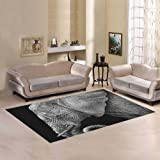 Love Nature Sweet Home Modern Collection Custom Black And White Elephant Area Rug 7'x5' Indoor Soft Carpet