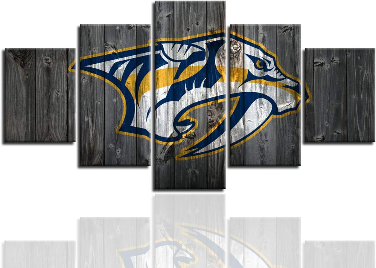 AsheArt Nashville Predators Wall Decor NHL Ice Hockey Pictures Canvas Prints Wall Art Living Room Home Decoration Framed Posters Ready to Hang(60''Wx32''H)